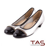 TAS 太妃Q系列 柔軟乳膠金屬飾鍊低跟娃娃鞋-星光銀