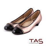 TAS 太妃Q系列 柔軟乳膠金屬飾鍊低跟娃娃鞋-玫瑰金