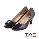 TAS 太妃Q系列 柔軟乳膠心型水鑽裝飾蝴蝶結高跟鞋-深藍