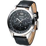 SEIKO 紳士新潮風3眼計時腕錶-黑(SSB097P1)