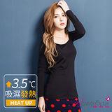 【BeautyFocus】台灣製女圓領天絲機能吸濕發熱衣-3843黑色
