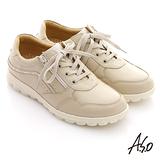 【A.S.O】輕量樂活 綁帶拉鍊牛皮奈米氣墊鞋(卡其)