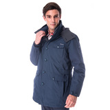 【hilltop山頂鳥】男款GoreTex兩件式防水羽絨長大衣F21M51藍