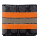 COACH C LOGO PVC雙色短夾(附證件夾)(卡其橘X黑灰)