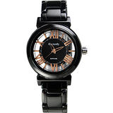 Canody 浮雕時尚雙鏤空羅馬陶瓷腕錶-黑x玫瑰金針/35mm/CB1220-3A