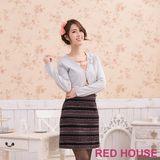 RED HOUSE-蕾赫斯-金蔥珍珠花朵小罩衫(銀色)