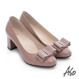 A.S.O 注目嬌點 全真皮蝴蝶結窩心粗跟高跟鞋(卡其)