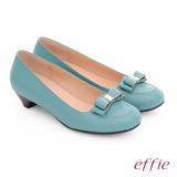 effie 都會舒適 羊皮立體蝴蝶結飾低跟鞋(淺綠)