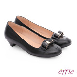 effie 都會舒適 羊皮立體蝴蝶結飾低跟鞋(黑)