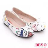 BESO 潮人街頭風 玩味風趣蝴蝶結平底鞋(白)