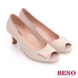 BESO 簡約知性 素色真皮縫線窩心魚口跟鞋(米)