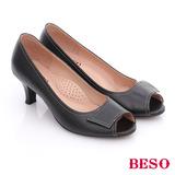 BESO 簡約知性 素色真皮縫線窩心魚口跟鞋(黑)