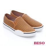 BESO 簡約知性 真皮水鑽格紋刻花厚底休閒鞋(黃)