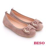 BESO 簡約知性 絨面牛皮立體蝴蝶結平跟鞋(灰褐)