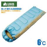 【日本 LOGOS】6℃ 6度抗菌防臭丸洗透氣保暖寢具睡袋(中空纖維填充/可機洗)適登山露營旅遊野餐 藍 72600880