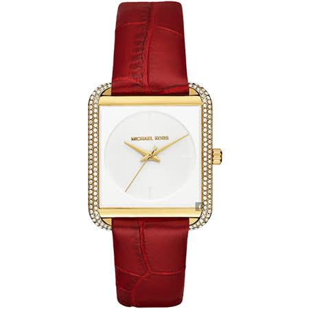 Michael Kors MK 古典尊貴晶鑽腕錶-白x紅錶帶/33mm MK2623 -friDay購物 x GoHappy