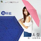 【雙龍牌】美型輕巧。蝴蝶結圓點自動開收傘(海軍藍下標區)-抗UV防風晴雨三折傘B6061S