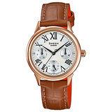 【CASIO 卡西歐】SHEEN 午後的羅馬時光皮帶腕錶(30.5mm/SHE-3049PGL-7A)