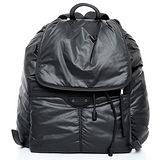 BALENCIAGA空氣尼龍小釦皮革揹帶後背包(黑色)