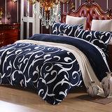 PICASSO-法蘭絨-勾勒藝術(藍)-加大四件式 兩用被套床包組