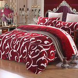 PICASSO-法蘭絨-勾勒藝術(紅)-雙人四件式 兩用被套床包組