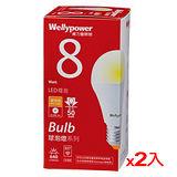 ★2件超值組★威力盟LED燈泡-黃光(8W)