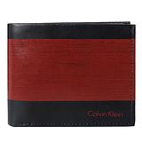 Calvin Klein雙色亮面皮革雙摺短夾(紅/黑)