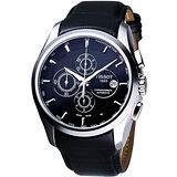 TISSOT 天梭 Couturier 建構師系列機械腕錶-黑/43mm T0356271605100