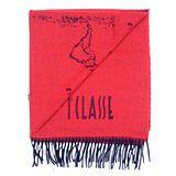 Alviero Martini 義大利地圖包 經典地圖流蘇圍巾(38X180)-紅