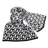 MICHAEL KORS黑白MK文字保暖長圍巾