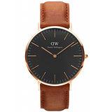 Daniel Wellington 經典棕色皮革腕錶-金框/40mm(DW00100126)