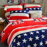 PureOne - 超保暖法蘭絨 - 雙人床包被套四件組- 美國風情