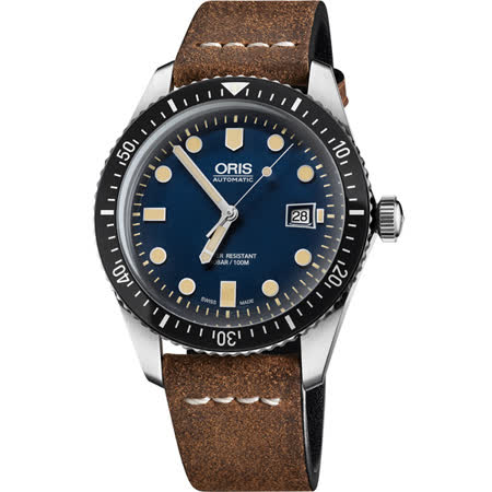 Oris Divers Sixty-Five 1965 復刻潛水機械腕錶-藍x棕/42mm 0173377204055-0752102