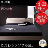 JP Kagu 附床頭櫃與插座貼地型木紋床組-連結式彈簧床墊(標準)小型雙人4尺(二色)