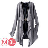 日本Portcros 現貨-二件式蕾絲下擺上衣針織外套組(淺灰色系/L)