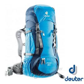 【德國 Deuter】FOX 30+4L 防潑水輕量高山拔熱透氣背包(可調背長 附安全哨) 36053 藍/深藍