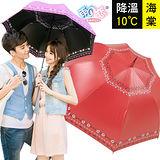 降溫10℃直自動傘- 海棠【磚紅】防曬/抗UV/降溫傘/經典款/專櫃傘-日本雨之戀
