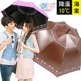 降溫10℃直自動傘- 海棠【咖啡】防曬/抗UV/降溫傘/經典款/專櫃傘-日本雨之戀