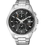 CITIZEN 星辰 Eco-Drive 鈦金屬光動能電波腕錶-黑x銀/43mm AT8130-56E