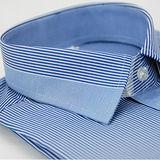 【金安德森】藍色變化領窄版長袖襯衫