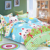 【BEDDING】100%棉 雙人舖棉床包+舖棉兩用被四件組 -童年的夢