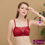 【Olivia】無鋼圈無痕拉絲集中低脊心防走光蕾絲內衣-酒紅