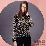 【麥雪爾】圓領豹紋滿版針織衫 -黑色