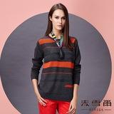 【麥雪爾】圓領條紋造型針織衫 -灰色