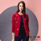 【麥雪爾】純棉幾何圖案針織衫外套-紅色