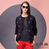 【麥雪爾】純棉幾何圖案針織衫外套-藍色