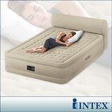 【INTEX】超厚絨豪華雙人加大充氣床-附床頭檔片(內建電動幫浦)fiber-tech新型(64459)