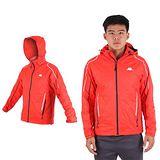 (男) KAPPA 雙層風衣外套-防風 防水 保暖 刷毛 立領 橘白