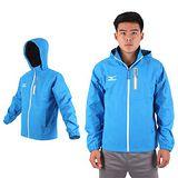 (男) MIZUNO 保暖風衣外套-刷毛 防風 防水 立領 運動 休閒 美津濃 水藍白