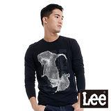 Lee 長袖T恤 圓領銀色印刷-男款(黑)